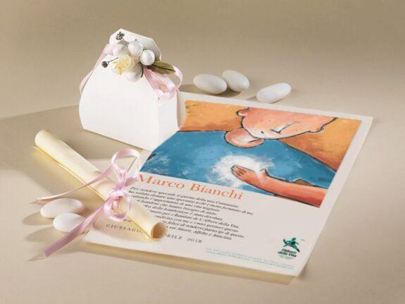 Bomboniera Portaconfetti in cartoncino e Pergamena Solidale Luce del Cuore Bimba