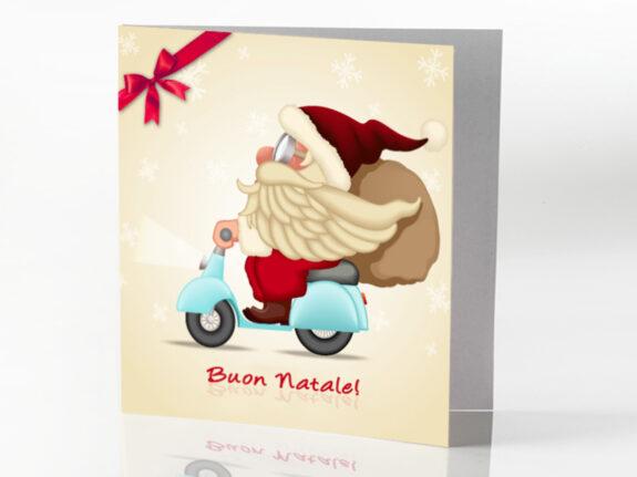 Biglietto Natale in Vespa